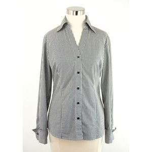 Worthington Stretch Black & White Striped Shirt 6